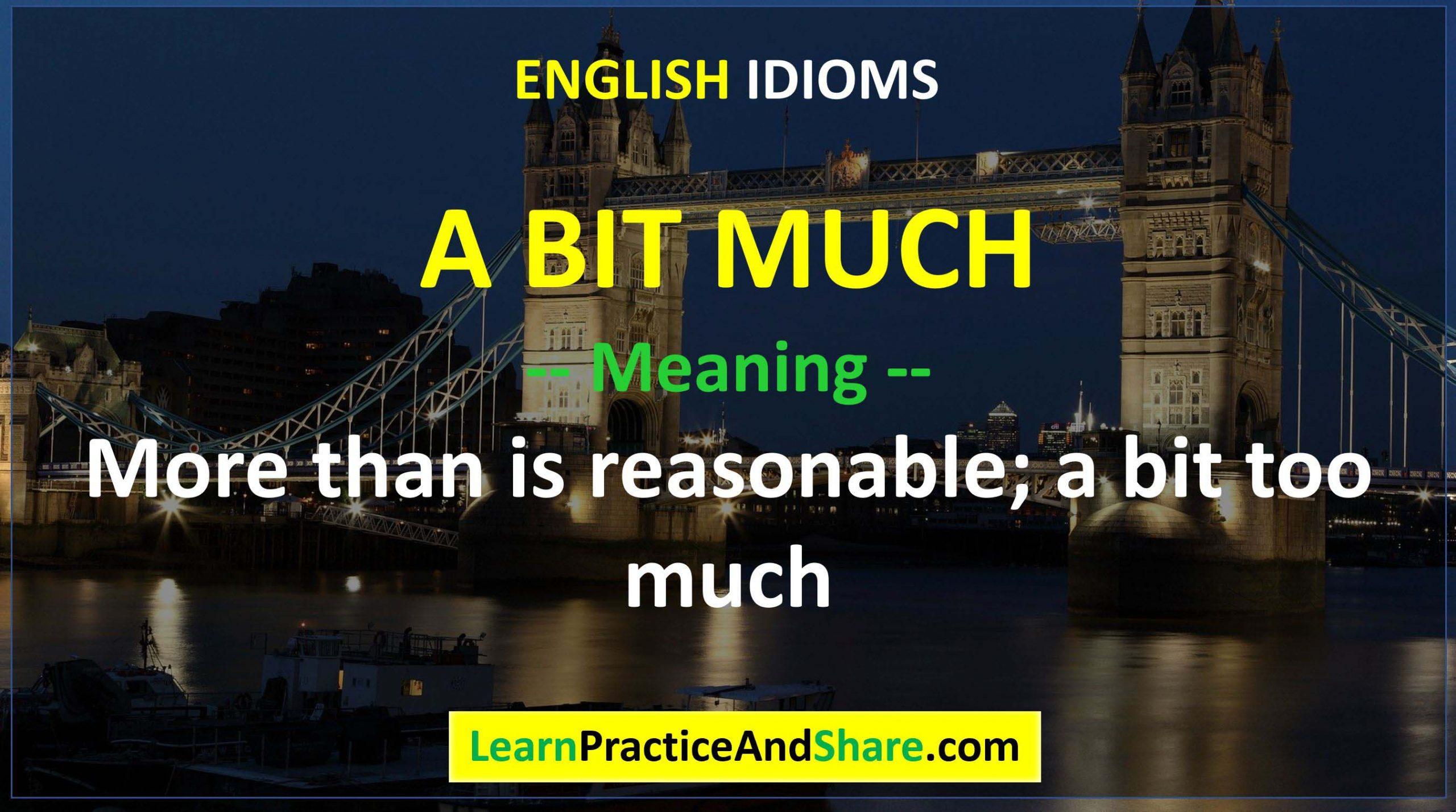 English Idiom - A Bit Much