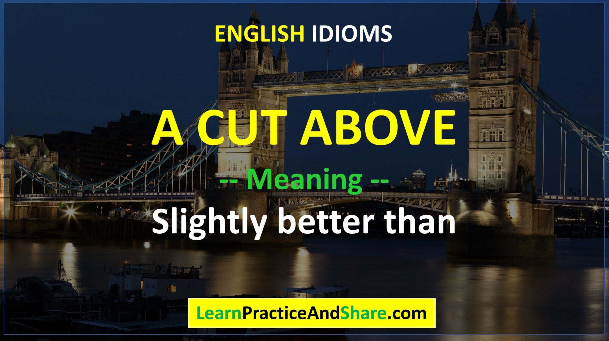 English Idiom - A Cut Above