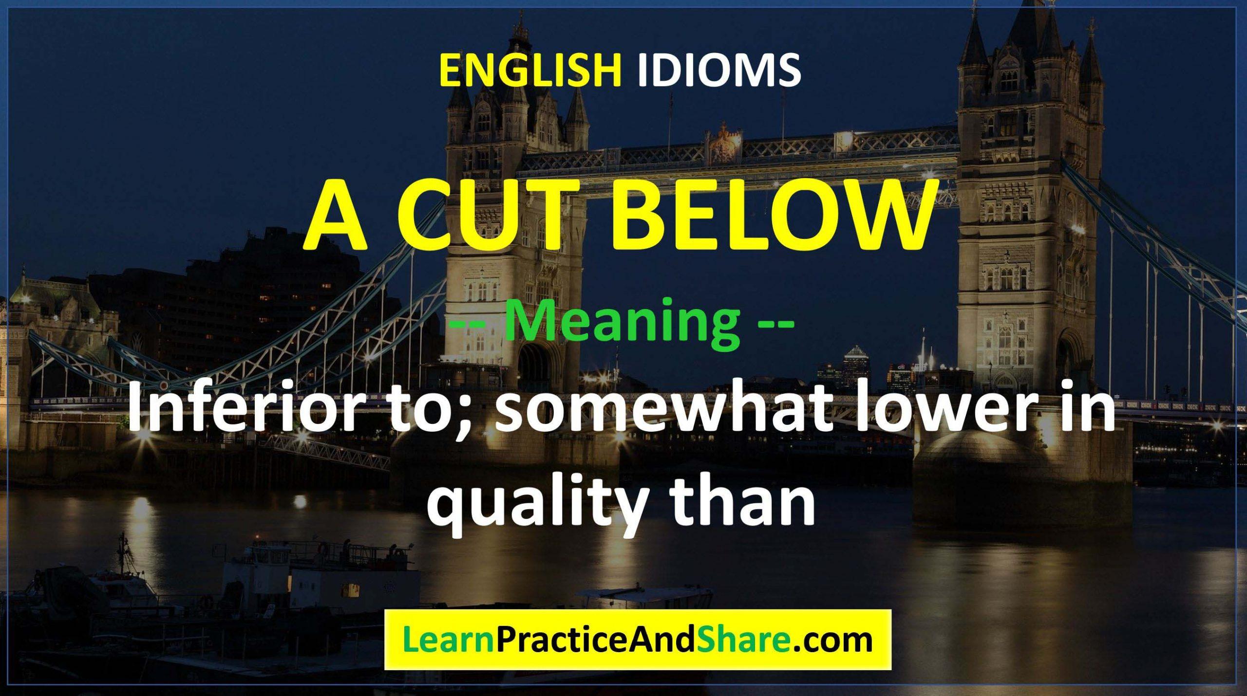English Idiom - A Cut Below