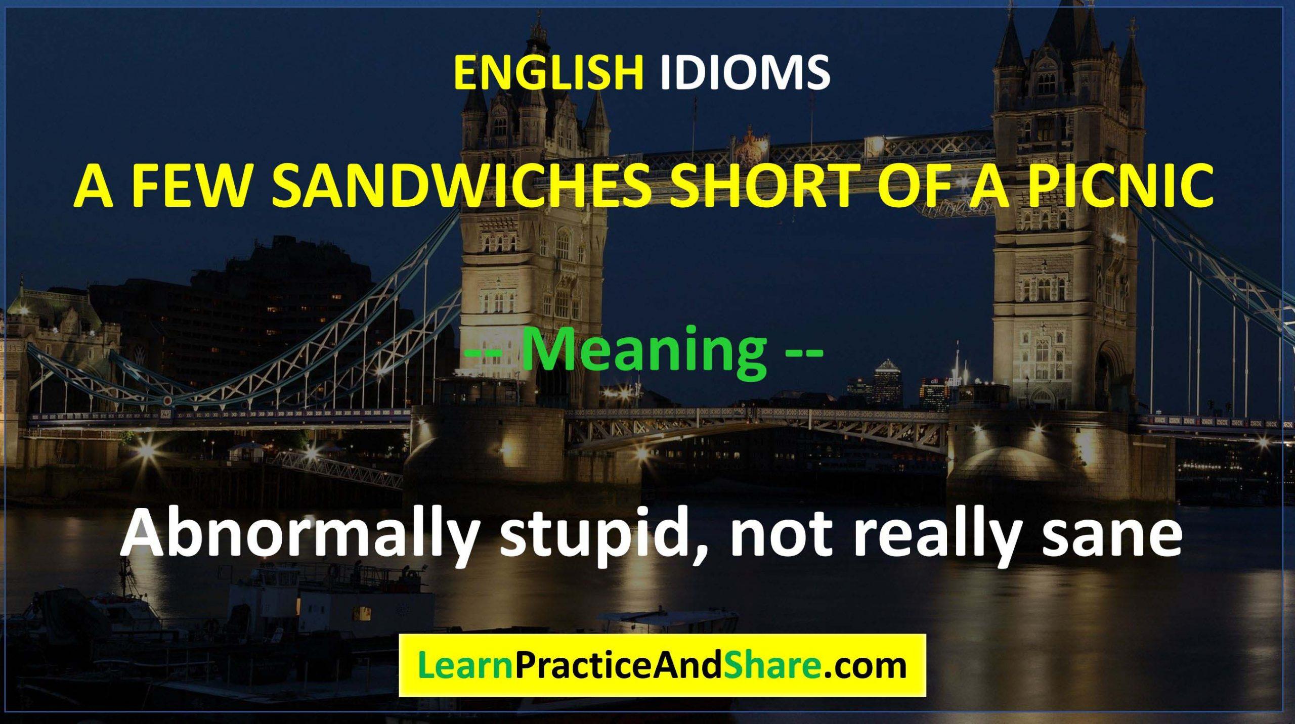 English Idiom - A Few Sandwiches Short Of A Picnic