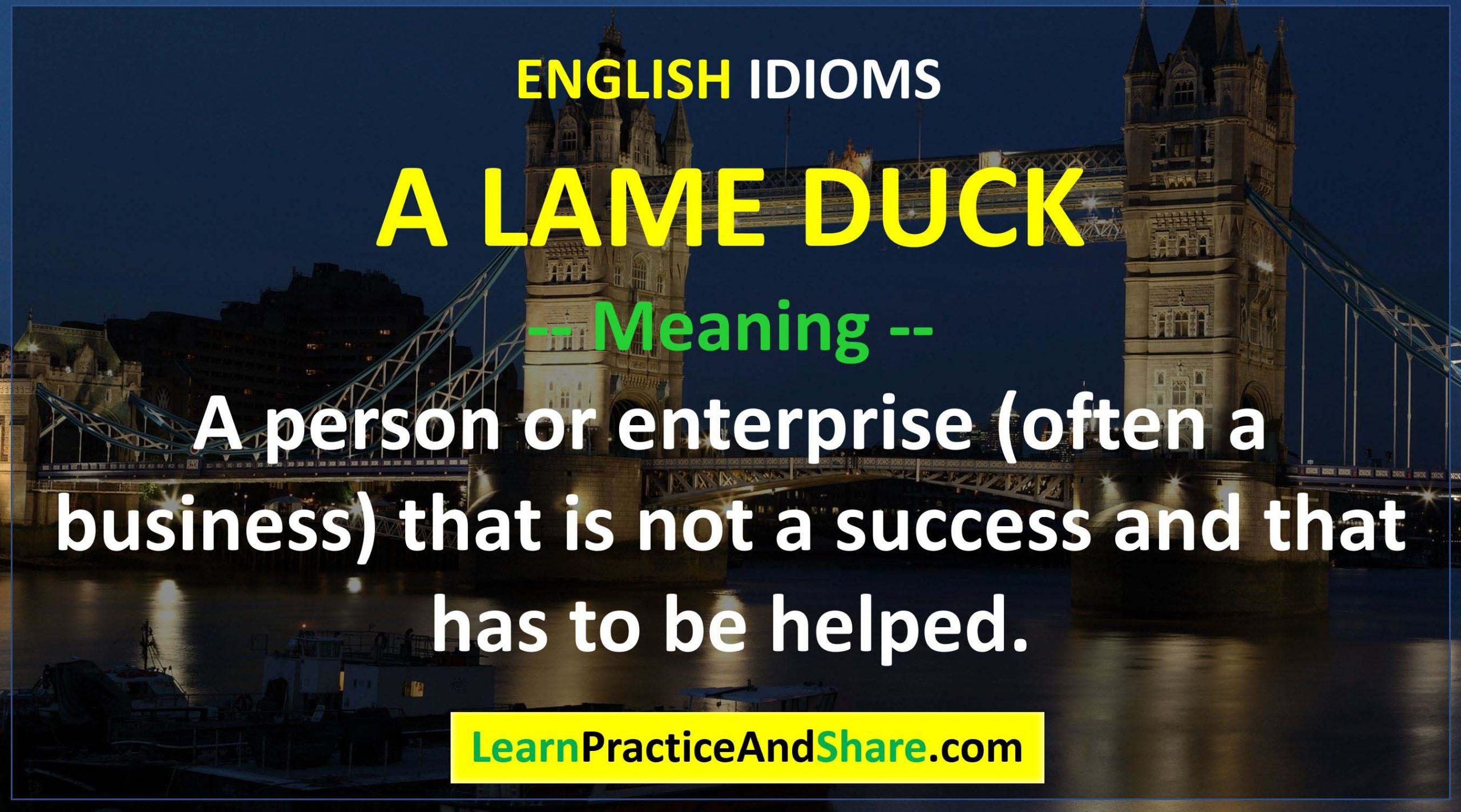 English Idiom - A Lame Duck