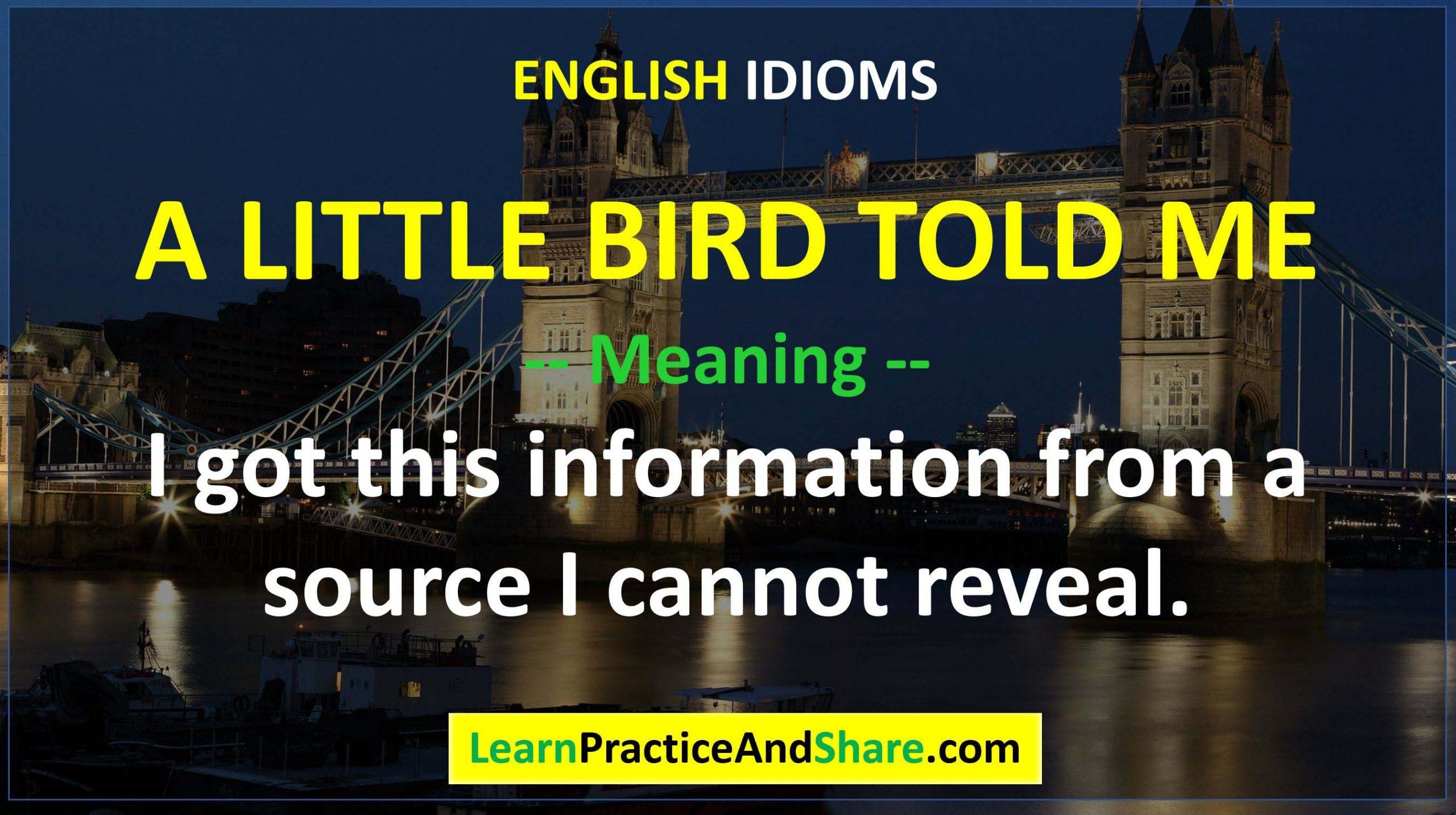 English Idiom - A Little Bird Told Me