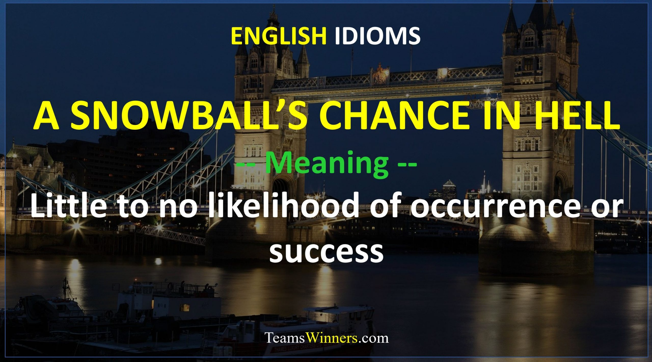 English Idiom - A Snowball's Chance in Hell