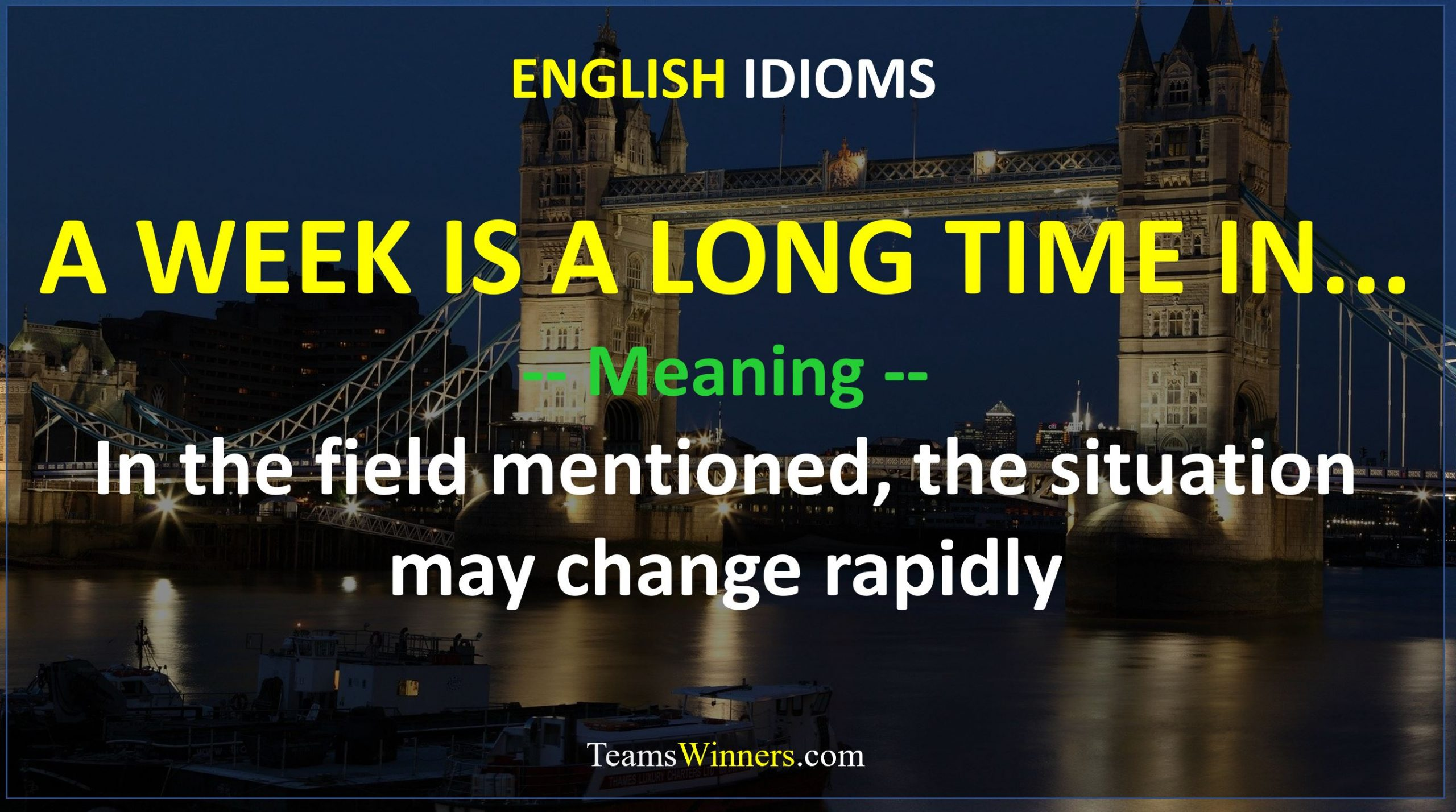 English Idiom - A Week Is A Long Time In