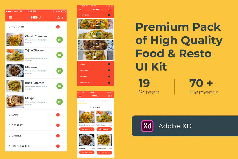 Food & Resto UI Kit (Adobe XD)