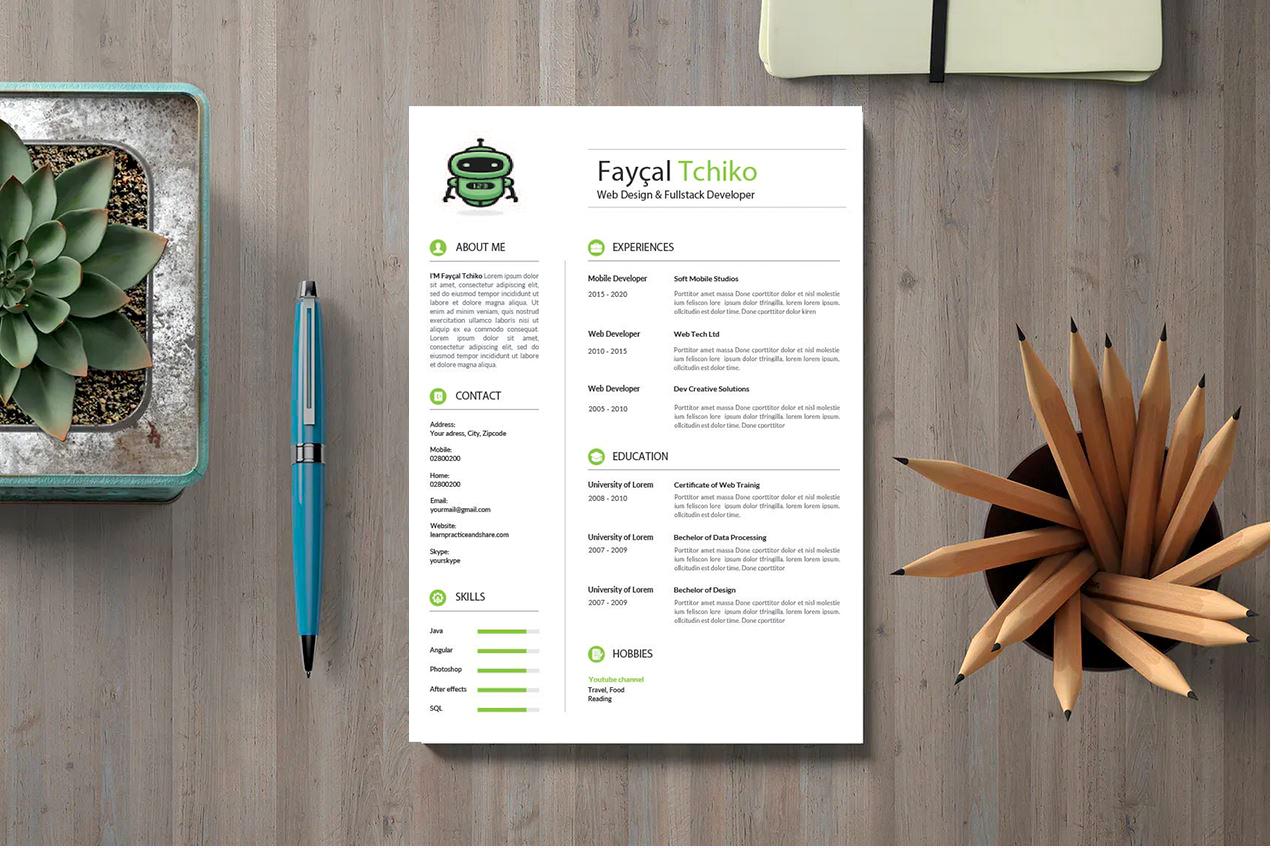 Free CV Resume Template 1