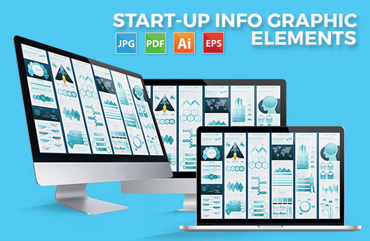 Startup blue infographic elements