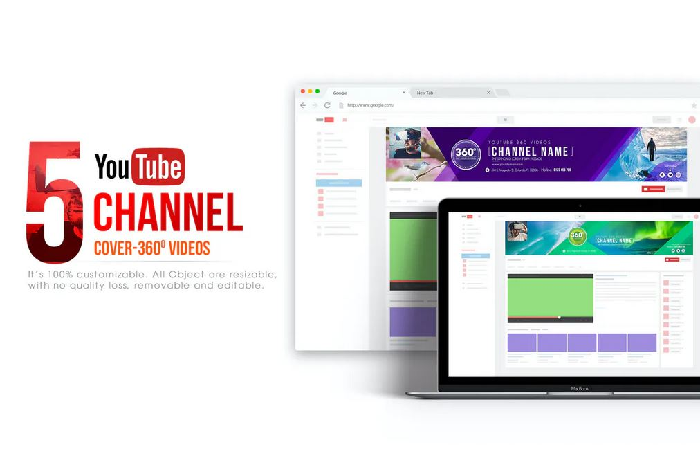 360 Video Channel - Youtube Banner Template