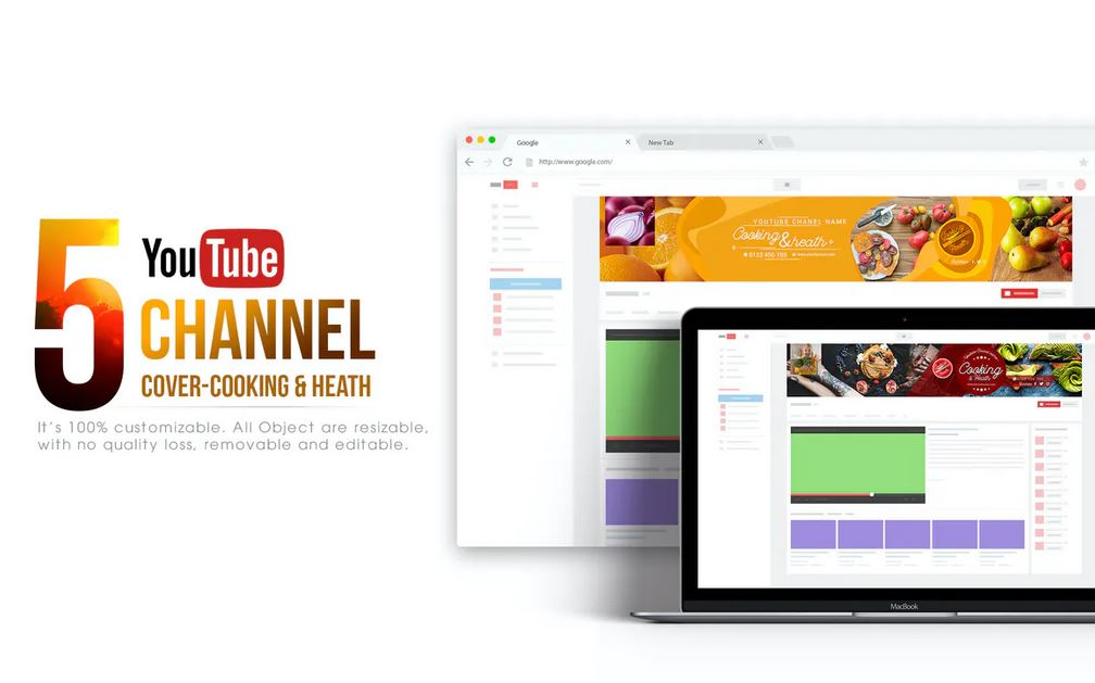 [Photoshop] 5 Health & Cooking Youtube Banners Template