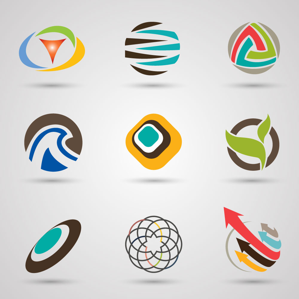 Sets of Logo with Colored Abstract Circles Style