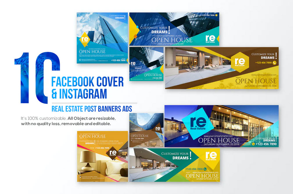 10 Facebook Cover & 10 Instagram Real Estate Post