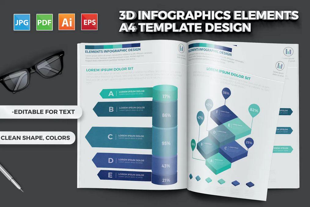 3D Infographics Elements Template Design