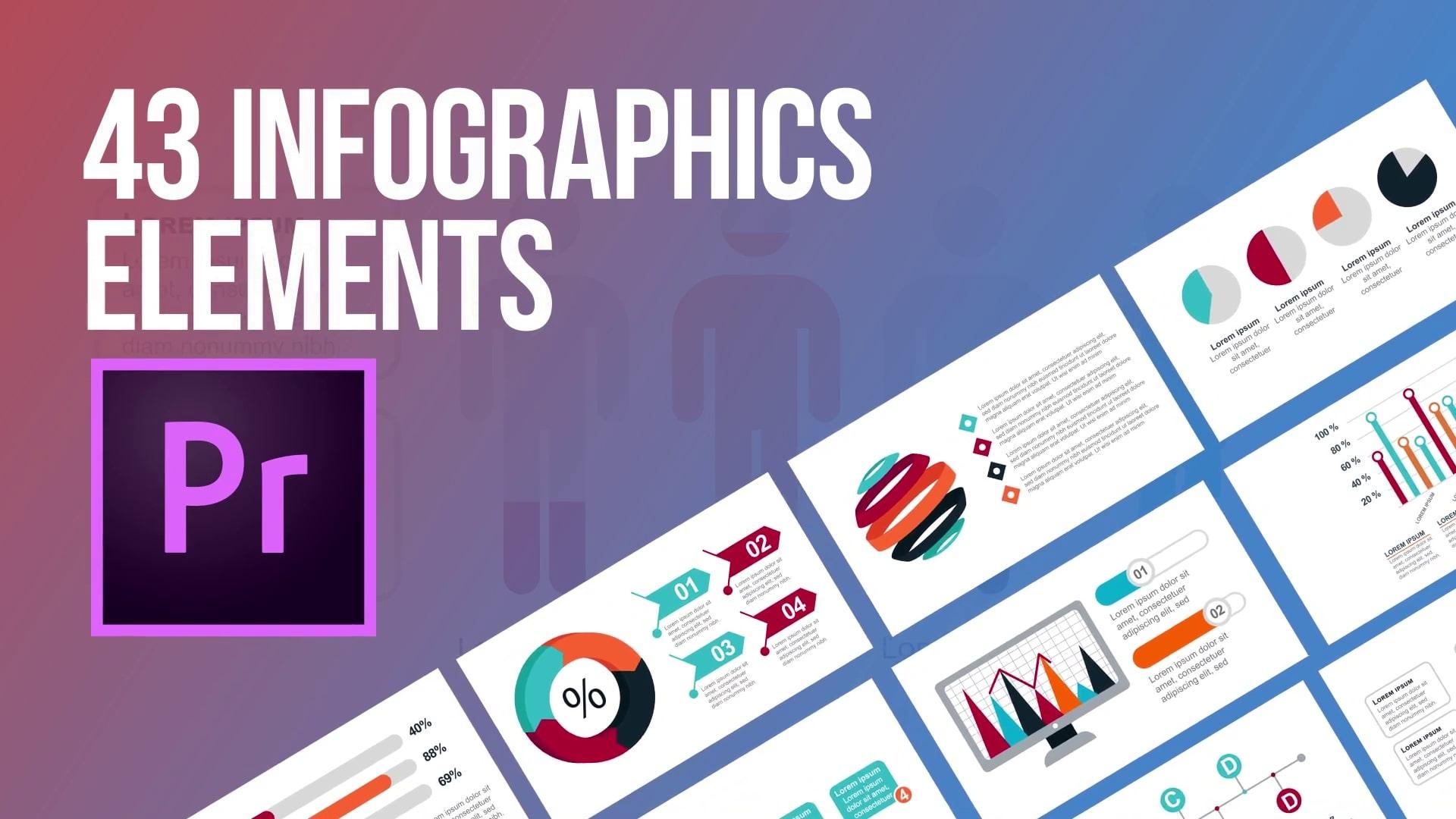 43 Infographics elements for Premiere Pro