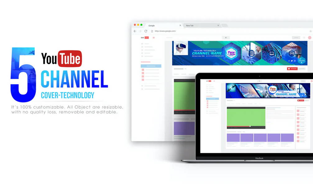 5 Tech Channel-Youtube Banners Template