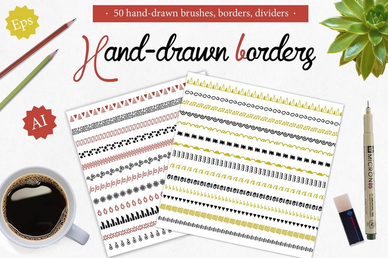 50 Handdrawn Brushes Borders Dividers