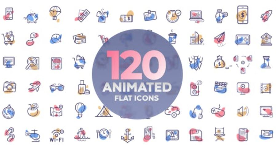 120 Animated Icons for After Effects