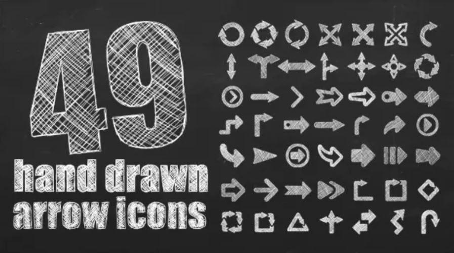 49 Hand drawn arrow icons