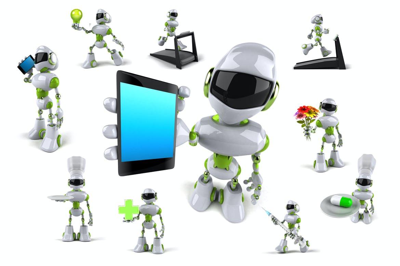 10 green Robots