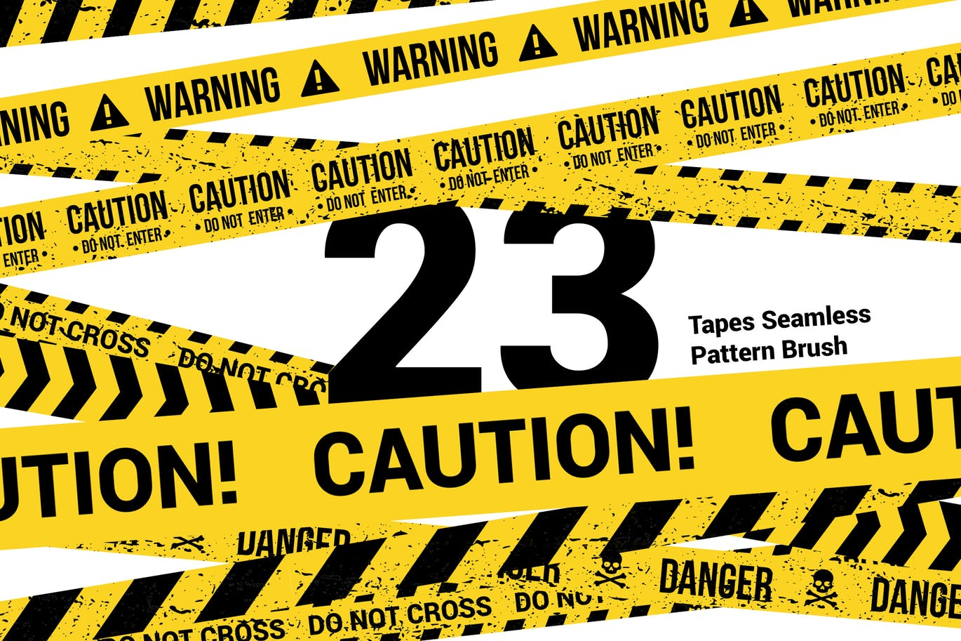 23 CAUTION TAPES Seamless Pattern Brush