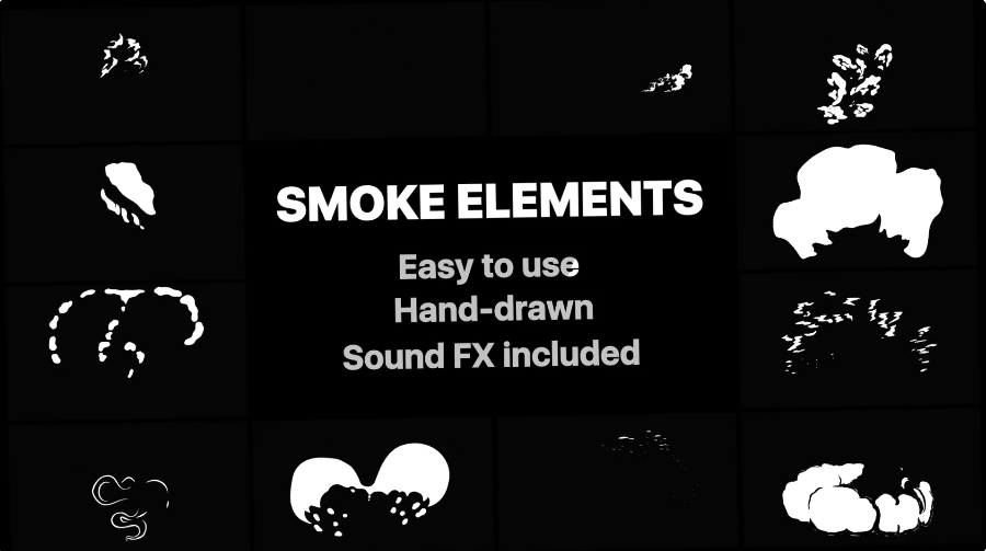 2D Fx Smoke Elements for After effects
