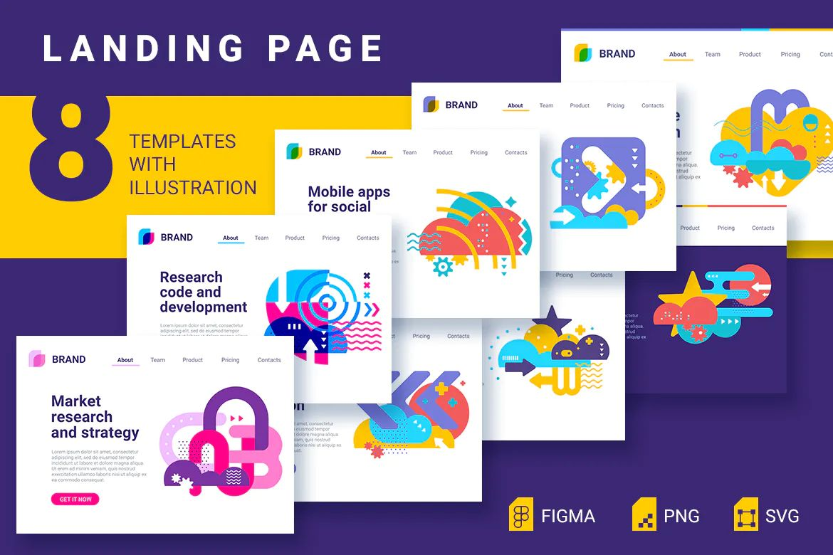 8 landing pages for Illustrator