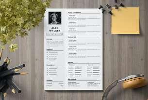 CV Resume Template Black and White for Illustrator