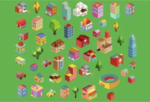 Colorful vector isometric buildings for illustrator