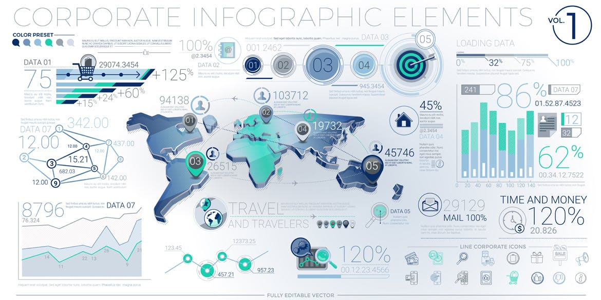 Corporate Infographic Elements screen 1