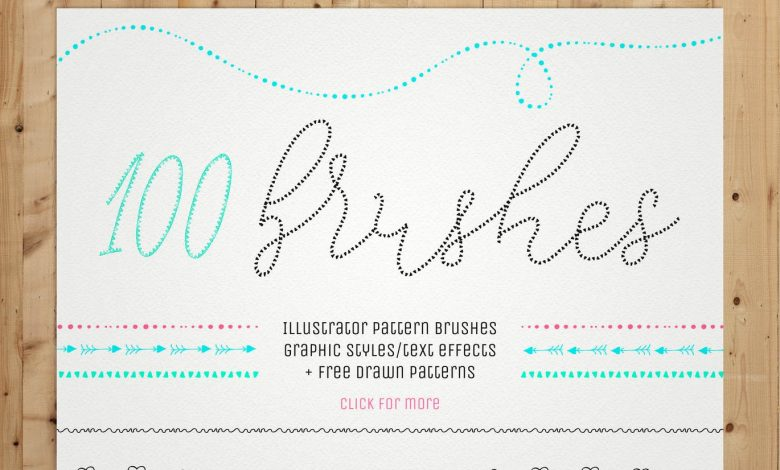 100 Pattern Brushes+9 Graphic Styles main