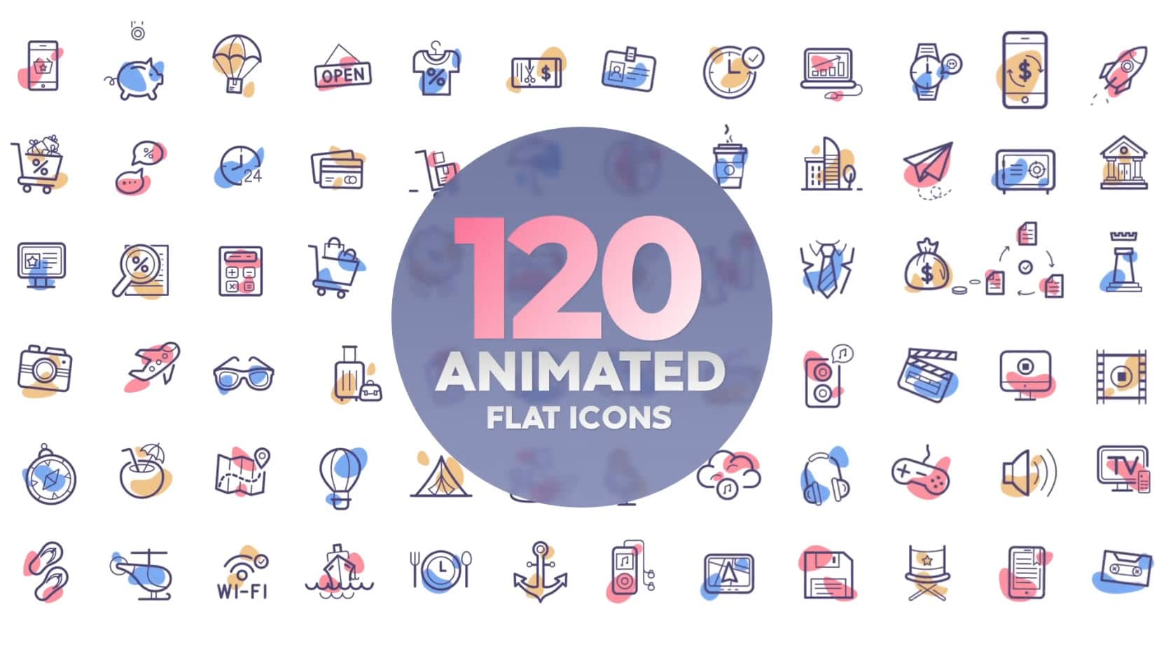 120 Animated Flat Icons for After Effects