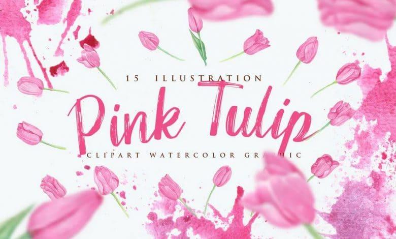 15-Watercolor-Pink-Tulip-Flower-Illustration
