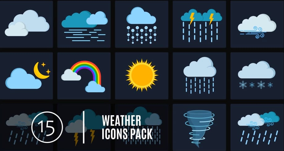 Photo of [After Effects] 15 Weather Icons Pack