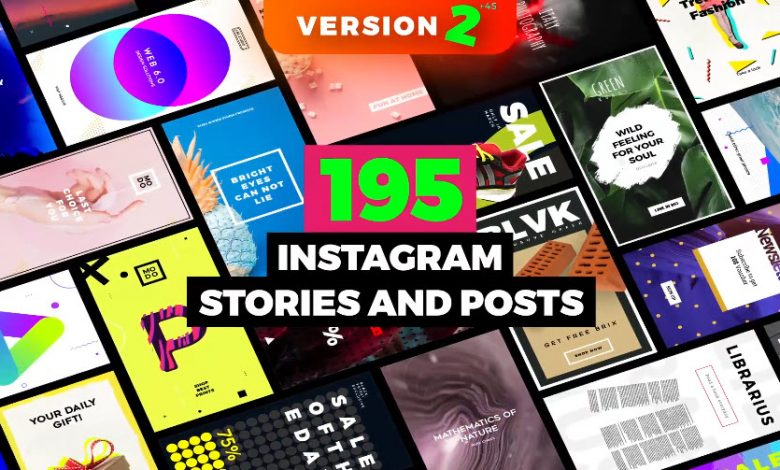 195 Instagram Stories and Post for After Effects