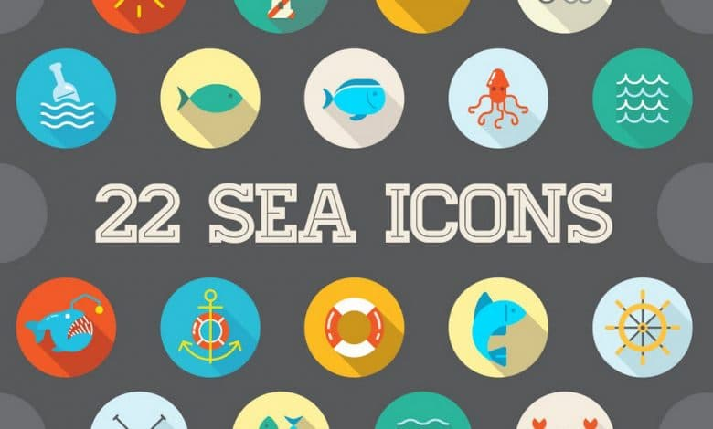 22 Vector Sea Flat Icons Set