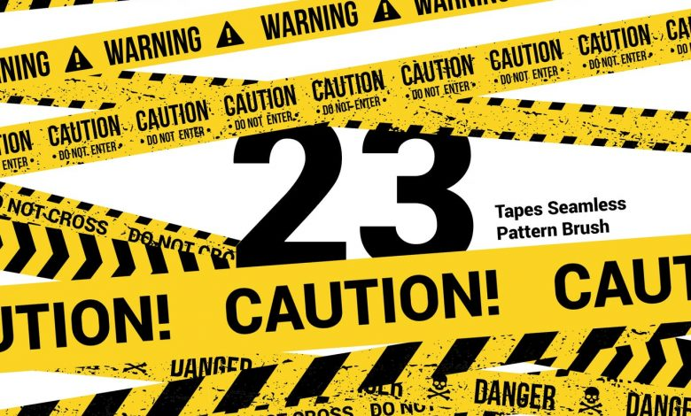 23 CAUTION TAPES Seamless Pattern Brush for Illustrator