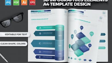 Photo of [Illustrator] 3D Infographics Elements A4 Template Design