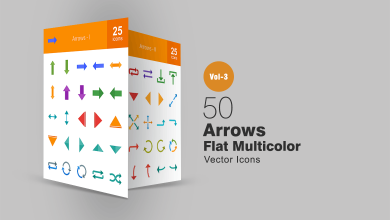 Photo of 50 Arrows Flat Multicolor Icons