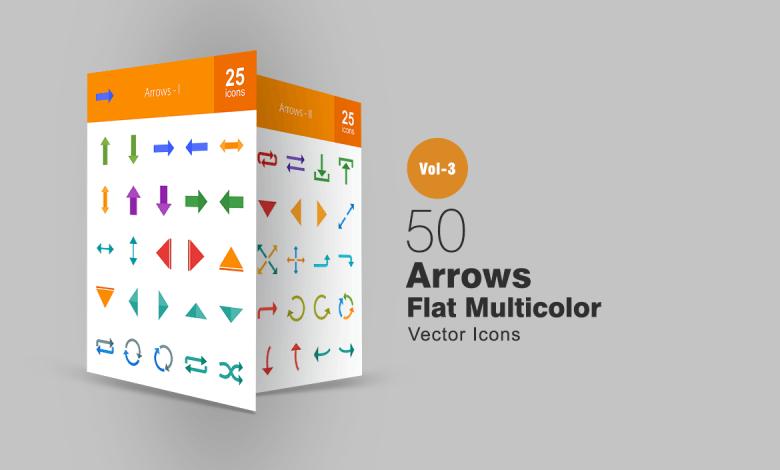50 Arrows Flat Multicolor Icons