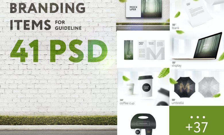Branding Items Mock-up for guidelines - 41 PSD