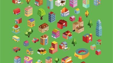 Photo of [Illustrator] Colorful vector isometric buildings