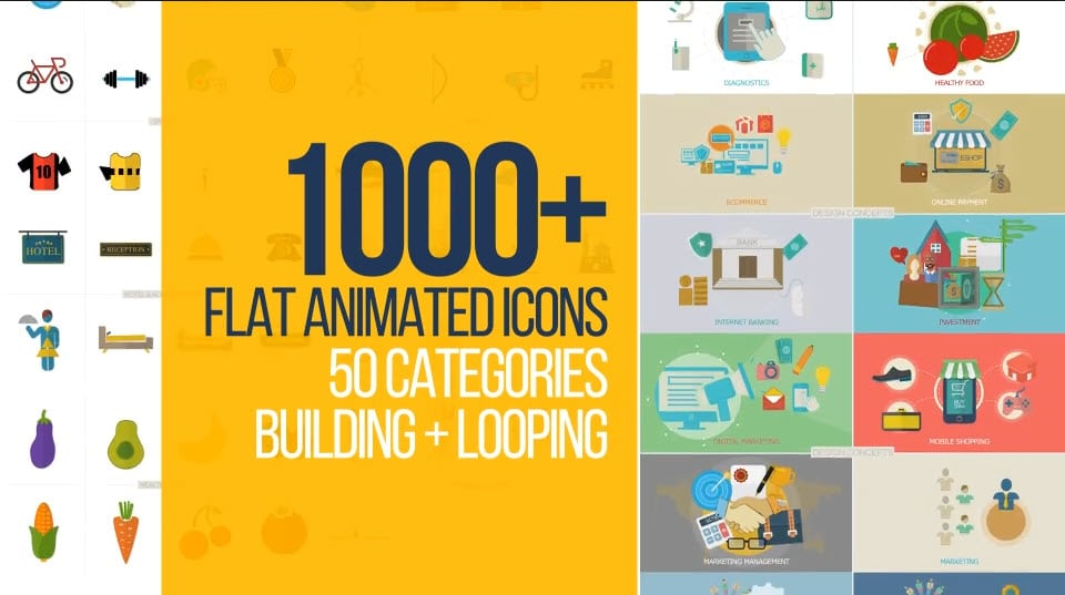 Photo of [After Effects] Flat Animated Icons 1000+