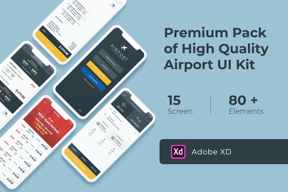 Photo of [Adobe XD] Flight and Ticket Booking UI KIT