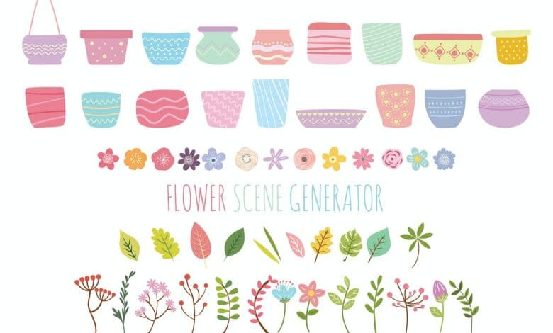 Flower & Plant Scene for Illustrator