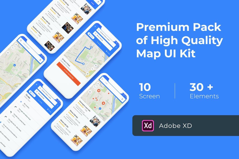 Map & Navigation UI KIT for Adobe XD