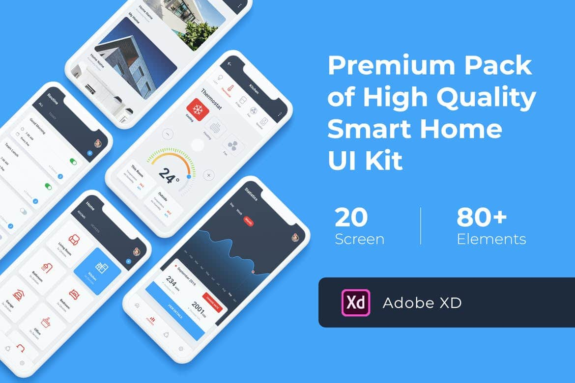 Smart Home Mobile UI KIT for Adobe XD