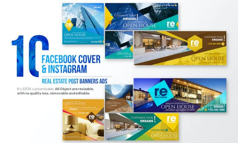 10 Facebook Cover & 10 Instagram Real Estate Post Photoshop