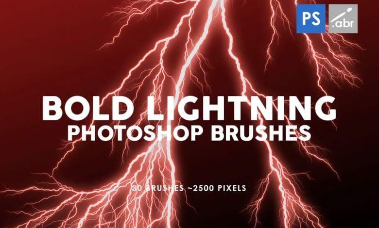 30 Bold Lightning Photoshop Stamp Brushes