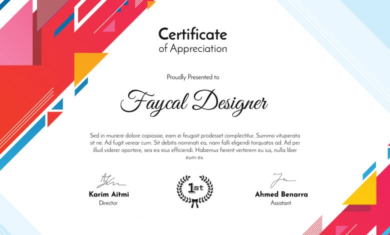 Abstract Certificate Template Photoshop