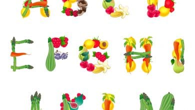 Photo of Alphabet Composed by Fruits and Vegetables