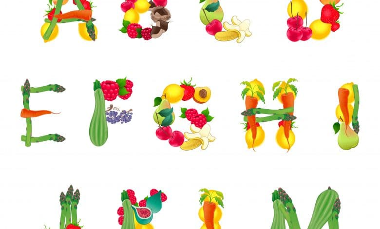 Alphabet composed by fruits and vegetables